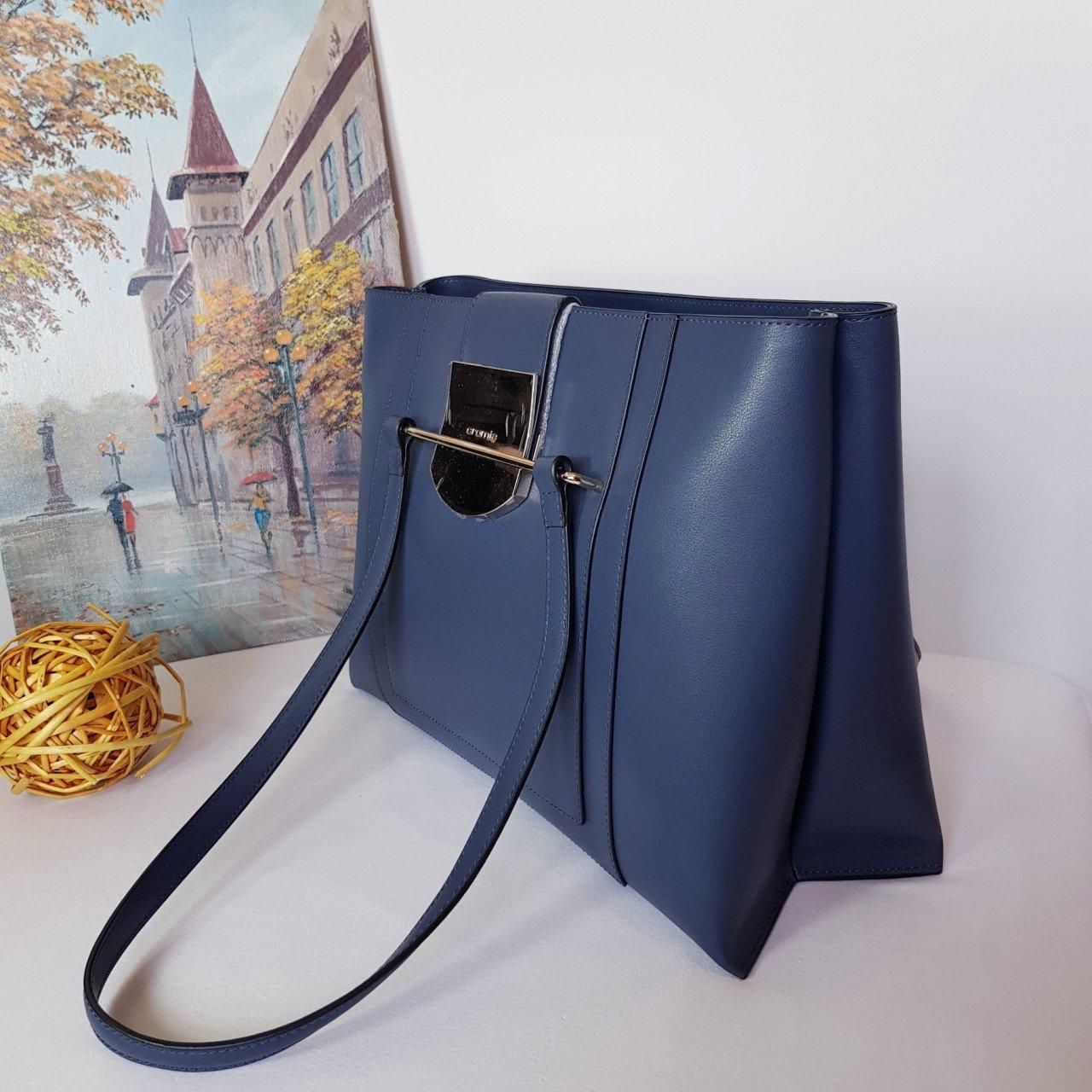 Женская кожаная сумка Cromia 1404867 BLU из натуральной кожи